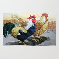 Rooster and Hen Rug