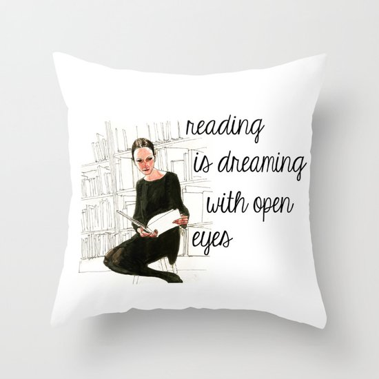Reading Is Dreaming With Your Eyes Open | Bookish Throw Pillows