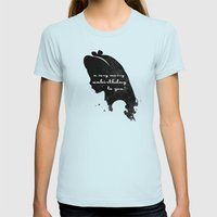 Unbirthday – Alice Silhouette Quote Womens Fitted Tee Light Blue SMALL