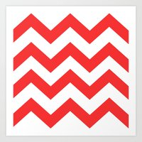 Red Chevron Lines Art Print