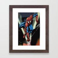 Gritty Spidey Swing Framed Art Print