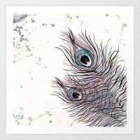 peacock Art Prints featuring PEACOCK by Monika Strigel
