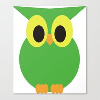 Cute Green Owl Canvas Print