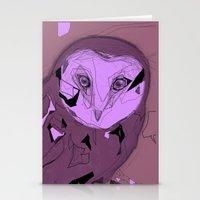 PURPLE OWL Stationery Cards