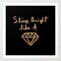 Shine (black gold edition) Art Print
