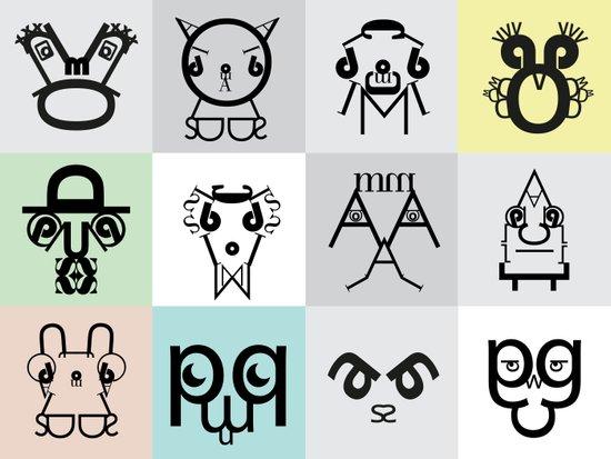 Typographic Characters Art Print