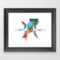 Swallows, Geometric Draw… Framed Art Print