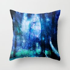 Blue night #Wood Throw Pillow