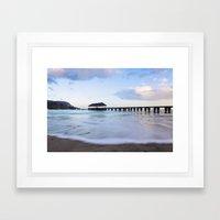 Hanalei Bay Pier at Sunrise Framed Art Print