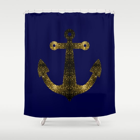 Yellow Gold Sparkles Anchor On Dark Navy Blue Shower Curtain By PLdesign So