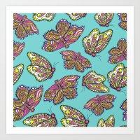heart and butterflies Art Print