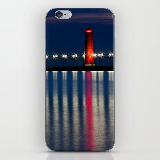 Grand Haven Pier Lighthouse and Reflections iPhone & iPod Skin