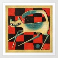 CHECKERBOARD CAT Art Print