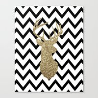 Glitter Deer Silhouette with Chevron Canvas Print