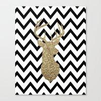 Glitter Deer Silhouette … Canvas Print