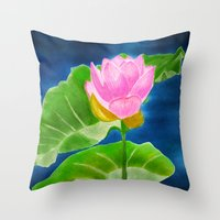 Pink Lotus Beauty Throw Pillow
