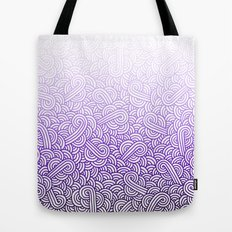 Gradient purple and white swirls doodles Tote Bag