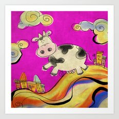 Cow - magenta Art Print