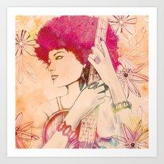 Afro Musician Girl Face … Art Print