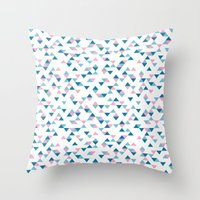 Triangles Blue and Pink Repeat Throw Pillow