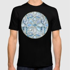 Geometric Gilded Stone Tiles in Soft Blues SMALL Mens Fitted Tee Black