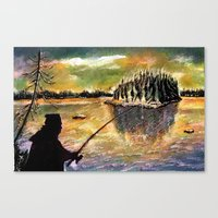 Twilight Fishing In Augu… Canvas Print