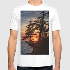 Sunset through the Trees White Mens Fitted Tee SMALL