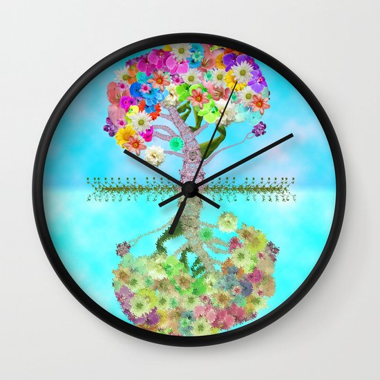 Cute Whimsical Bright Floral Tree Collage Teal Sky Wall Clock