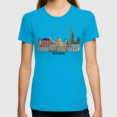 washington dc  Womens Fitted Tee Teal SMALL