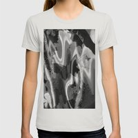 Psychedelia In Black & W… Womens Fitted Tee Silver SMALL