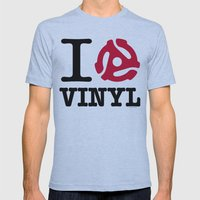 I Heart Vinyl Mens Fitted Tee Athletic Blue SMALL