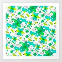 Flower Overlay Pattern Art Print