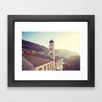 Belltower In Dubrovnik Framed Art Print