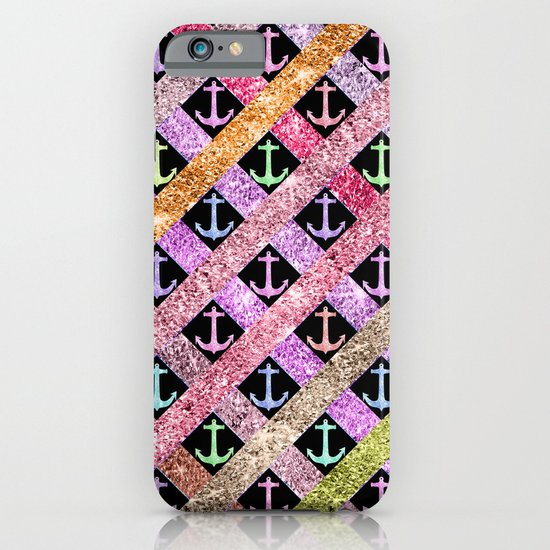 Girly Colorful Glitter Nautical Anchors Stripes iPhone & iPod Case