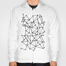 Abstract Heart Black on White Hoody