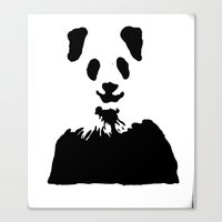 Pandas Blend into White Backgrounds Canvas Print
