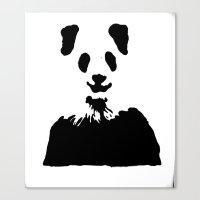Pandas Blend Into White … Canvas Print