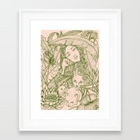 Tiny Claws - Green And P… Framed Art Print