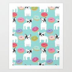 French Bulldog cute mint pastel cute donuts sweet treat doughnuts junk food dessert foods and dogs Art Print
