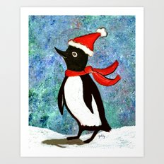 Holiday Penguin Art Print