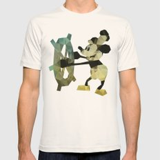 Mickey Mouse as Steamboat Willie Mens Fitted Tee Natural SMALL