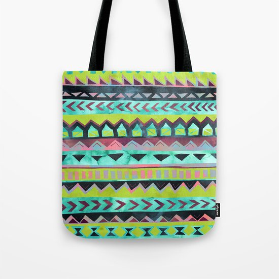 PATTERN {Tribal Stripe - Green} Tote Bag