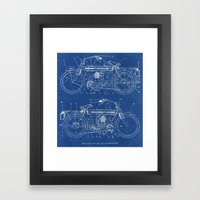 Motorcycle Blueprint Framed Art Print
