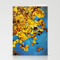Golden Leaves Stationery Cards