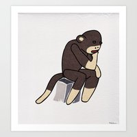 Sock Monkey Thinking Art Print