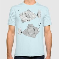 2 fish Mens Fitted Tee Light Blue SMALL