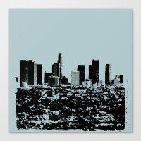 Downtown Los Angeles Skyline - Stamp Pattern on Light Blue Canvas Print