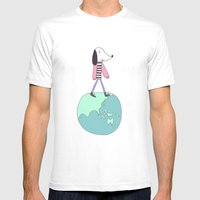 Dog globe Mens Fitted Tee White SMALL