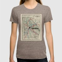 Terminus Map Womens Fitted Tee Tri-Coffee SMALL