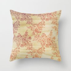 Cabbage Roses - Wood Throw Pillow